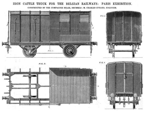 Société Franco-Belge - Iron cattle wagon, exhibited Paris Exhibition, 1867