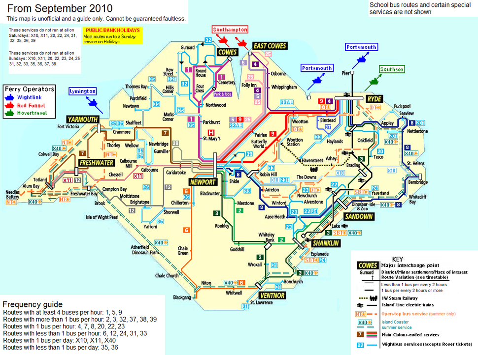 Isle of Wight public transport map September 2010