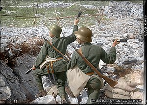 Mannlicher M1895 - Austro-Hungarian Stormtroops armed with Mannlicher M95 Stutzens at the Isonzo front in 1917 (colorized).