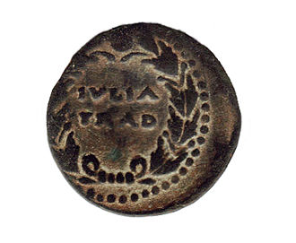 Iulia Traducta - Coin from Iulia Traducta showing civic crown motif very popular during the first century AD