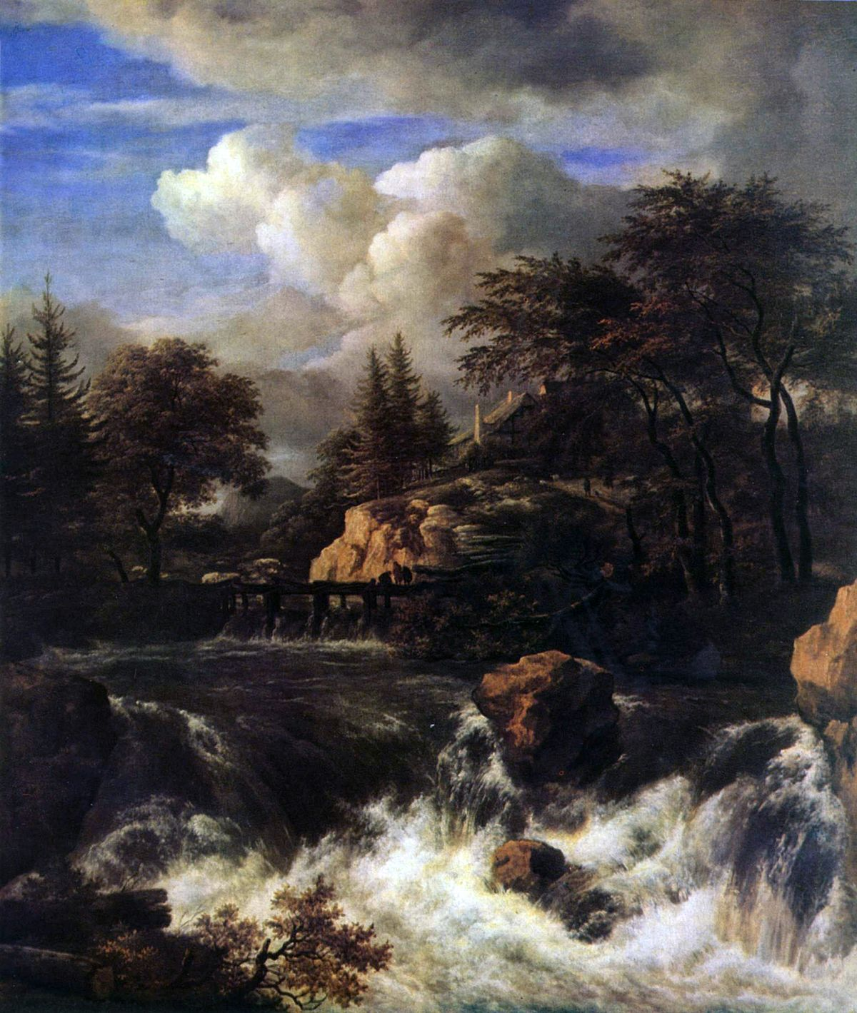 Landscape Waterfalls: A Waterfall In A Rocky Landscape