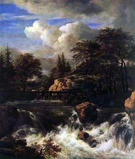 <i>A Waterfall in a Rocky Landscape</i> painting by Jacob van Ruisdael