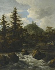 Mountainous landscape with a waterfall, a cottage, and a castle