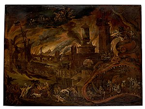 Jacob Isaacsz. van Swanenburg - The Sibyl showing Aeneas the Underworld, Charon's boat