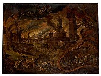 Jacob Isaacsz. van Swanenburg - The Sibyl showing Aeneas the Underworld, Charon's boat