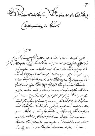 Jacob Emden - Letter of Jacob Emden to the King of Denmark, August 20, 1743