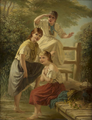 James W. Walton - Three girls soaking their feet near a footbridge,1877.png
