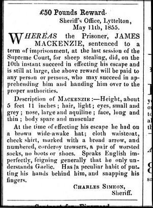 Scottish New Zealanders - Reward poster for James Mckenzie published in The Lyttelton Times in May 1855 after he escaped from prison where he was being held for stealing sheep. Note reference to language.