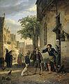 Jan Steen stuurt zijn zoon de straat op om schilderijen te ruilen voor bier en wijn Rijksmuseum SK-A-1123.jpeg