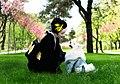 Japanese Spitz (Nihon Supittsu) Японский шпиц SIMBA TSAR ZVEREI (Pets Couturier SIMBA) with his owner & mom Yuliya Strizhkina Kiev Ukraine.jpg