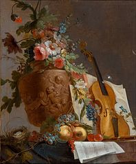 Still life with flowers and a violin