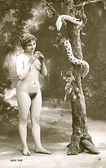 Jean Agélou - Serie 589 - Eve being tempted to eat the forbidden fruit.jpg