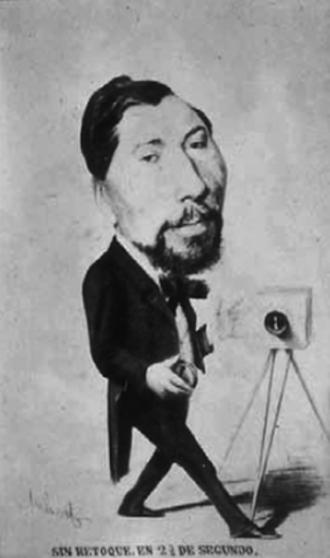 Jean Laurent (photographer) - Caricature of Laurent from Aubert (1860-1870)