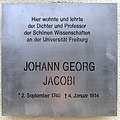 Johann Georg Jacobi, Gedenktafel an seinem Freiburger Wohnhaus.jpg