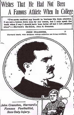 John Cranston (American football) - In 1905, Cranston told the Boston Journal he wished he had not been a famous athlete.