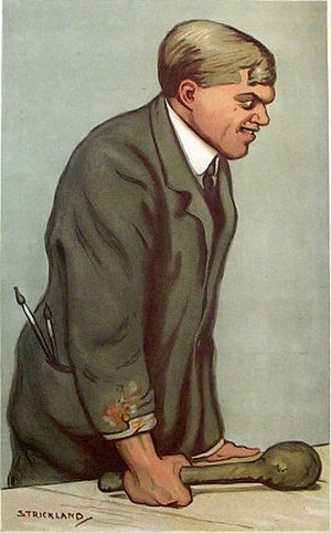 "John Hassall (illustrator) - ""Posters"" – caricature of Hassall  in Vanity Fair, 1912"