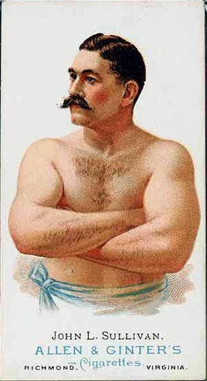 1886 in sports - A cigarette trading card depicting John L. Sullivan and produced in 1886