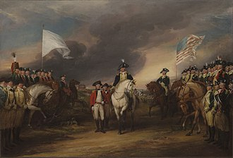 History of the United States (1776–1789) - Surrender of Lord Cornwallis by John Trumbull. The siege of Yorktown ended with the surrender of a British army, ending most of the fighting