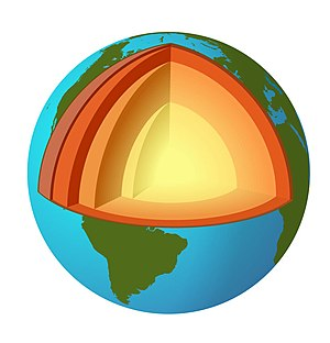 Illustration of planet Earth with core exposed.