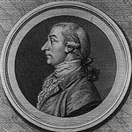 Black and white print of a man wearing a 18th century wig, dark coat and frilled white shirt.