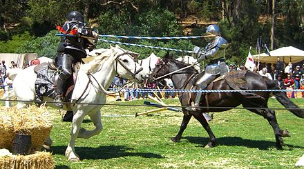 Jousting is a sport that evolved out of heavy cavalry practice. Jousting renfair.jpg