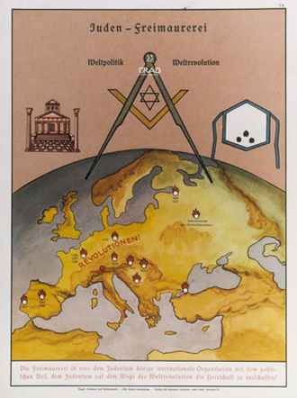"Judeo-Masonic conspiracy theory - German poster from 1935 saying, ""World politics – World revolution. Freemasonry is an international organisation beholden to Jewry with the political goal of establishing Jewish domination through world-wide revolution."""