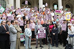 Greenwich Village Society for Historic Preservation - GVSHP Executive Director Andrew Berman speaks at a rally against NYU 2031 at New York City Hall.