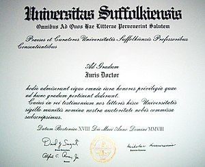Law degree - A typical Juris Doctor diploma from the United States, here from Suffolk University Law School in 2008.