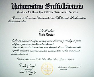 Law school - A typical juris doctor diploma, here from Suffolk University Law School