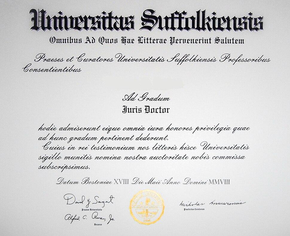 Juris Doctor diploma