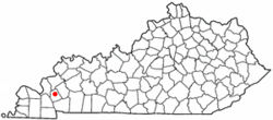 Location of Eddyville, Kentucky
