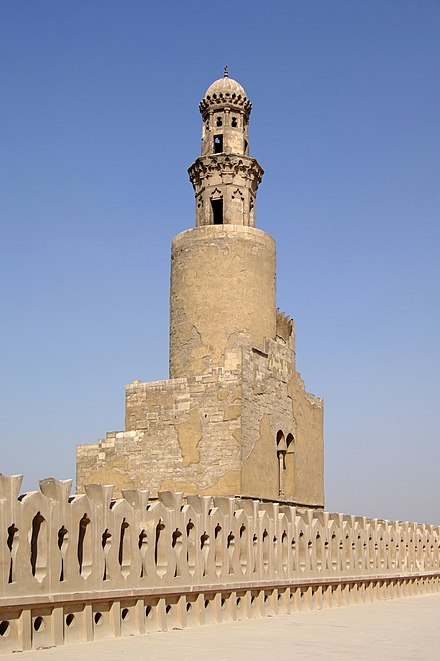 Minaret of Ibn-Tulun Mosque, the largest remaining building from the Tulunid period today. Kairo Ibn Tulun Moschee BW 7.jpg