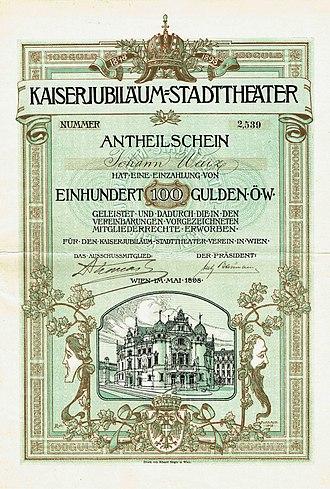 Vienna Volksoper - Stock certificate of the Kaiserjubiläum-Stadttheater-Verein, issued May 1898