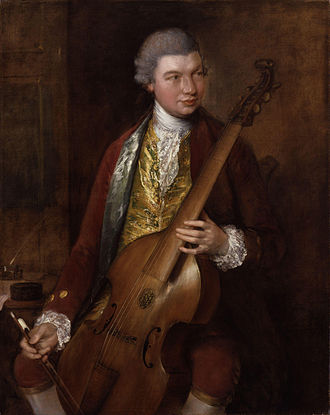 Bowed string instrument - Karl Friedrich Abel playing the bass Viola da Gamba, by Thomas Gainsborough (1727-1788)