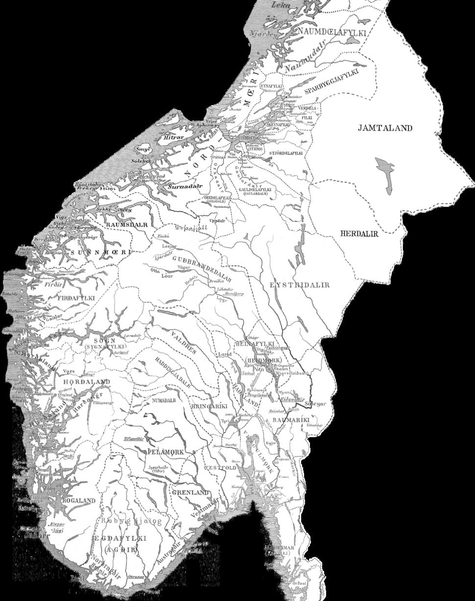 Kart over Sør-Noreg