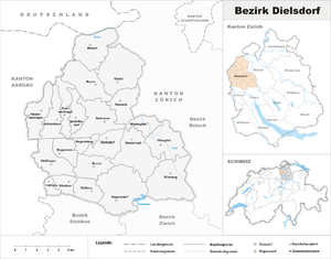 Dielsdorf District - Image: Karte Bezirk Dielsdorf 2007