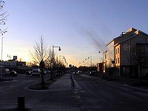 Nakkila - Kauppatie, the main street of Nakkila's centre in December 2014.