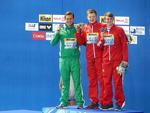 Adam Peaty - 100m breaststroke medal ceremony at Kazan