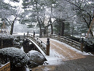 Kenroku-en - Flower-viewing Bridge, December.