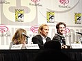 Kick-Ass panel - Chloë Grace Moretz, Nicolas Cage, Aaron Johnson (4498729021).jpg