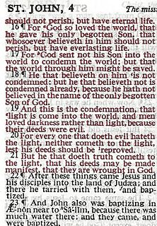 Red letter edition A Bible in which the words spoken by Jesus are printed in red ink