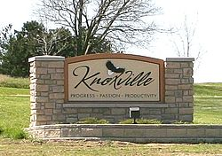 """Knoxville"" sign found on the north side along IA 14"