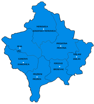 Districts of Kosovo - UNMIK's districts of Kosovo