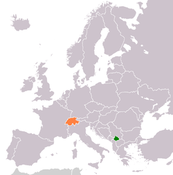 Map indicating locations of Kosovo and Switzerland