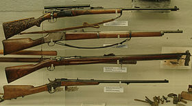 Krag-Jørgensen, Krag-Petersson, Jarman M1884 and RemingtonM1867.jpg