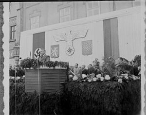 Jaroslav Krejčí - Krejčí giving a speech in Tábor
