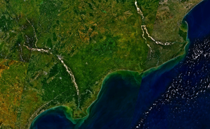 Godavari-Krishna mangroves - Krishna River Delta (lower left) and Godavari River delta (upper right) imagery showing the green mangrove region.