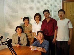 Roza Otunbayeva - Dr. Roza Otunbayeva, then Foreign minister of Kyrgyzstan, at the Azattyk Media studio in Bishkek (sitting on the left), together with journalists Cholpon Orozobekova, Aziza Turdueva, Kubat Otorbaev, Kanat Subakojoev, and studio manager Maksat Toroev (sitting). 07 June 2006.