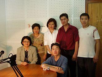Roza Otunbayeva - Dr. Roza Otunbayeva, then-Foreign Minister, at the Azattyk Media studio in Bishkek (sitting on the left), together with journalists Cholpon Orozobekova, Aziza Turdueva, Kubat Otorbaev, Kanat Subakojoev, and studio manager Maksat Toroev (sitting). 07 June 2006.