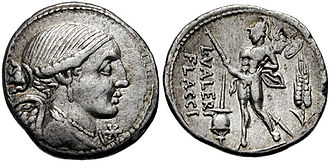 Valeria (gens) - Denarius of Lucius Valerius Flaccus, consul in 100 BC, and later magister equitum to the dictator Sulla.